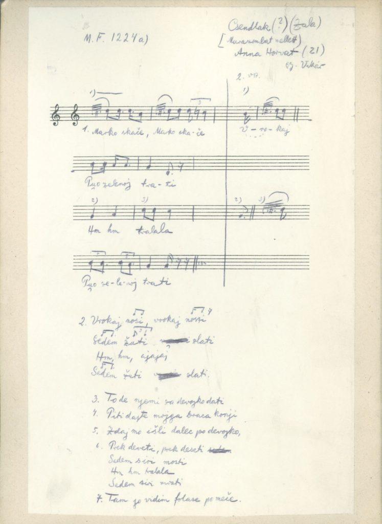 Марко скаче – запис мелодије
