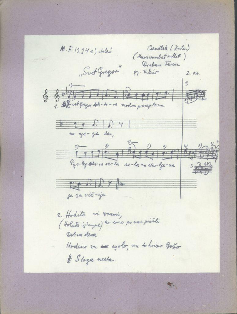 Svet Gregor doktora – szöveg és dallamlejegyzés kézirata
