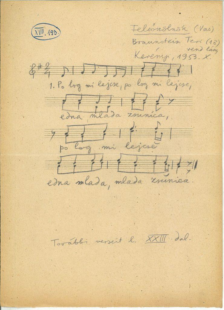 Po log mi lejče – lejegyzés kézirata