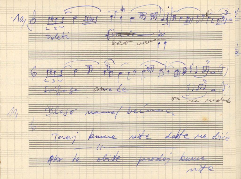 Doleti beo venac – lakodalmas ének kézirata