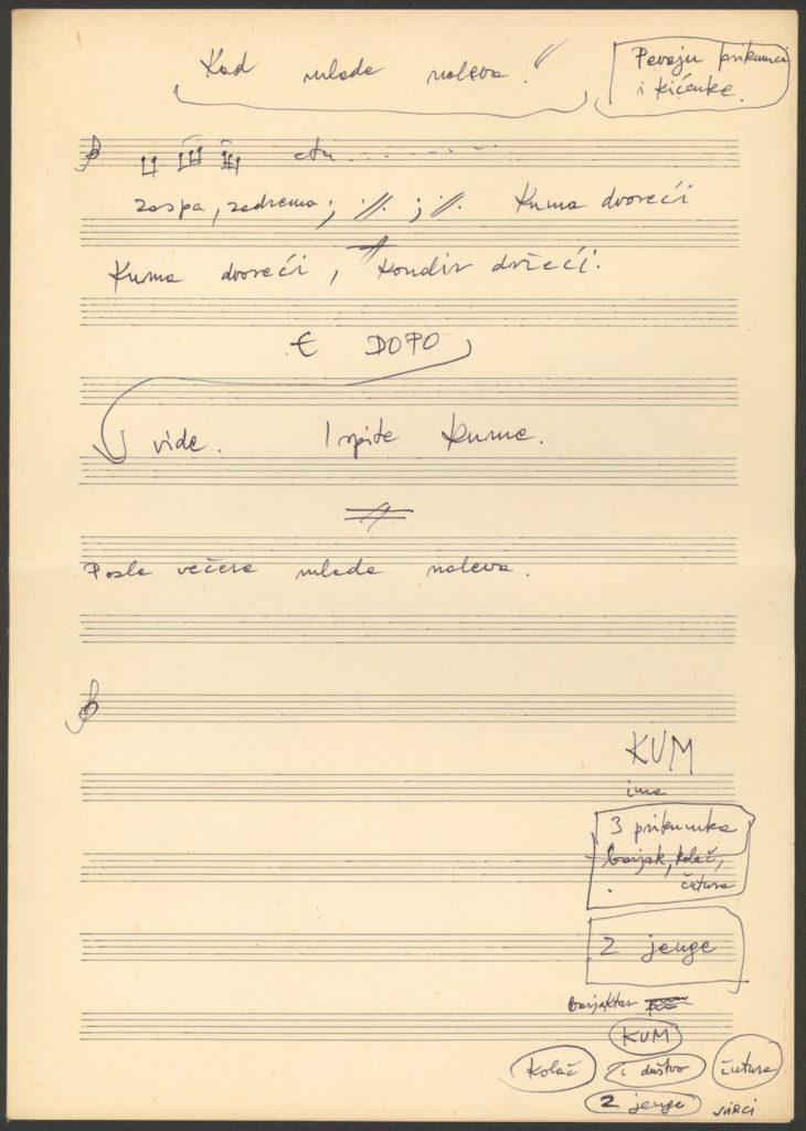lakodalmas ének kézirata, megjegyzéssel a szokásról, résztvevőkről