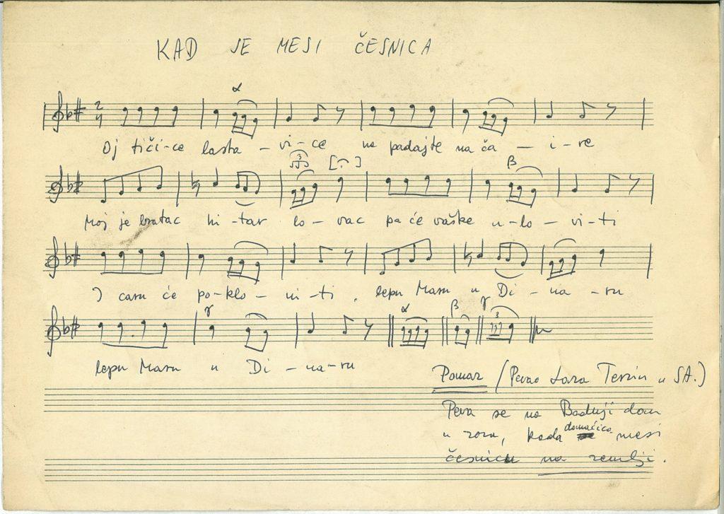 csesznica készítéskor énekelt dal kézirata, Pomáz