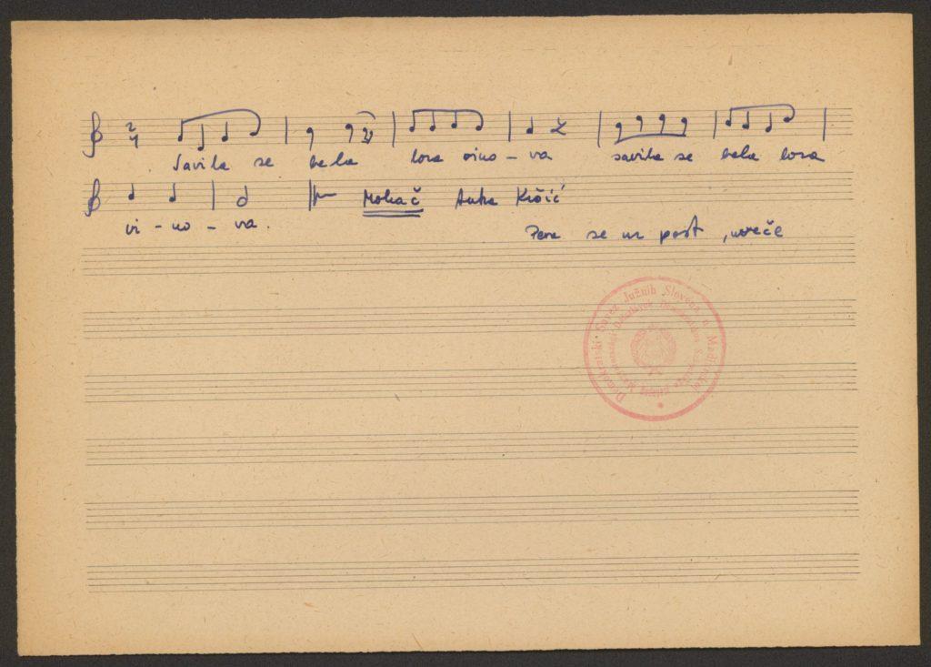 Savila se bela loza vinova – nagyböjti ének kézirata, Mohács