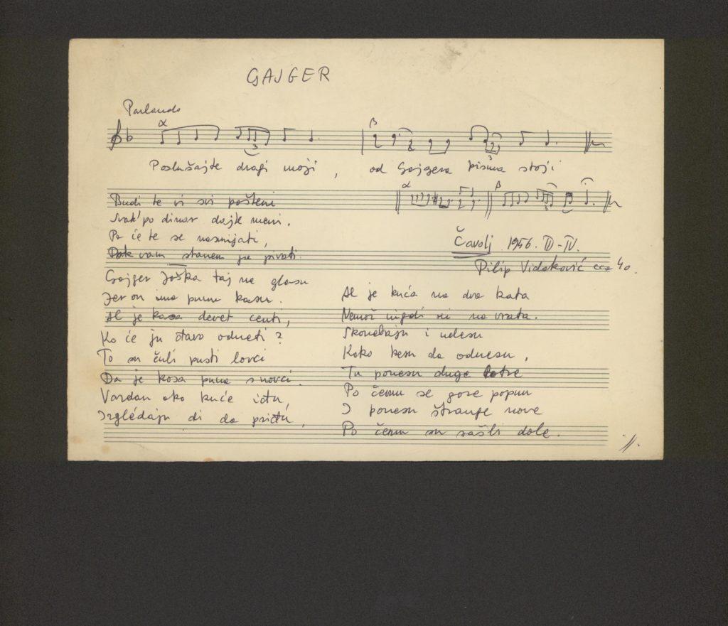dallamváltozat (Gajger) kézirata, Csávoly