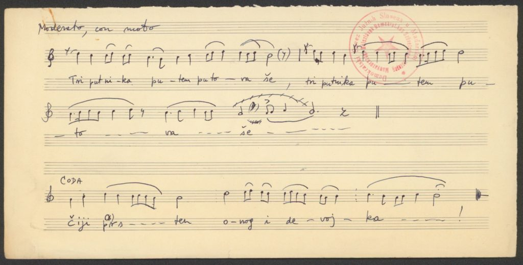 Tri putnika putem putovaše, u osminama – 8-ados elbeszélő ének kézirata