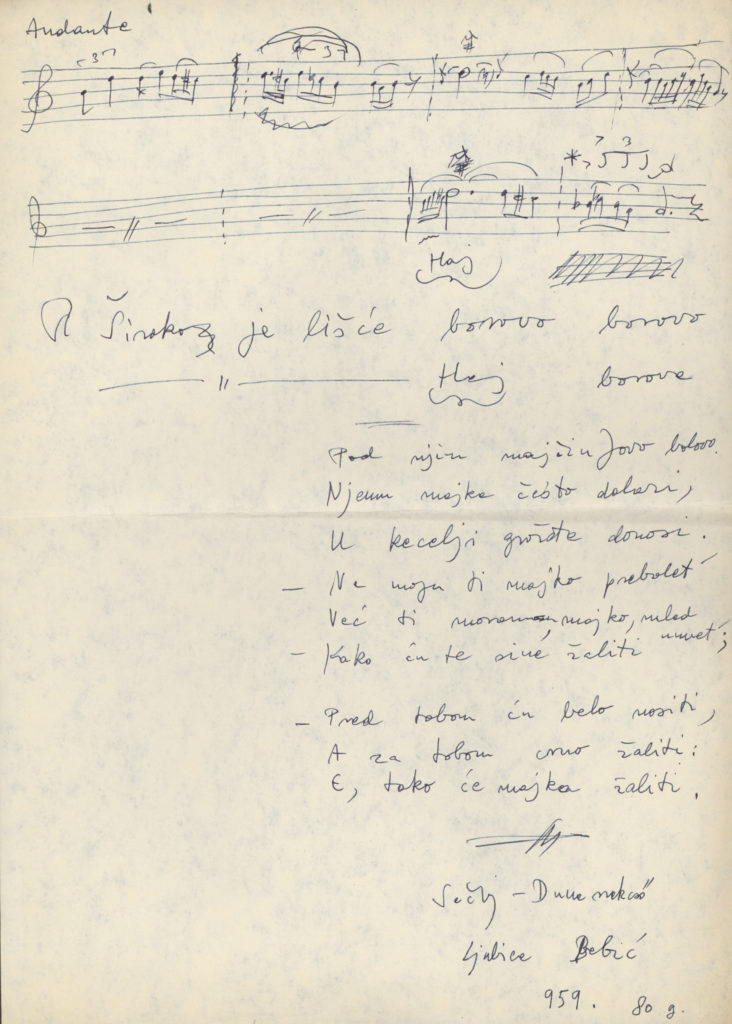 Široko je lišće borovo – elbeszélő ének kézirata, Dunaszekcső