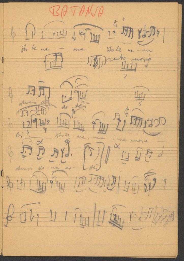 Što te nema, sa ispravkama – szöveg és dallamlejegyzés kézirata, javításokkal, Battonya