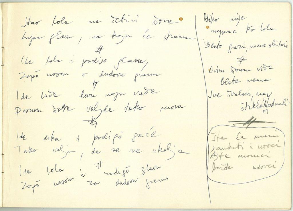 bežarci szöveg kézirata