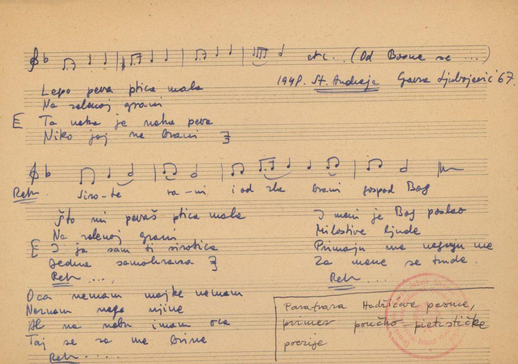 Lepo peva ptica mala – városi ének kézirata